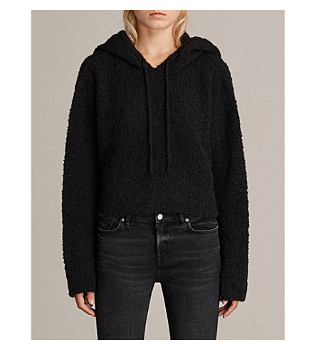 ALLSAINTS Ava knitted wool-blend hoody (Black