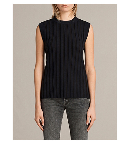 ALLSAINTS Kait ribbed wool and cotton-blend top (Ink+blue/black