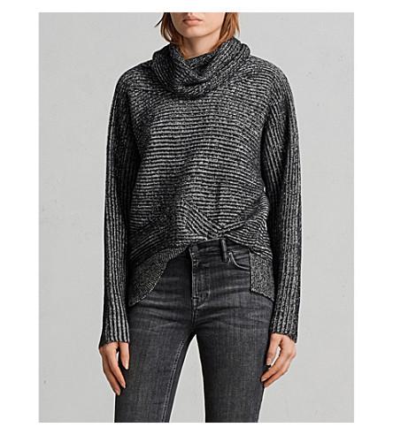 ALLSAINTS Mesa wool and cotton-blend jumper (Black/chalk