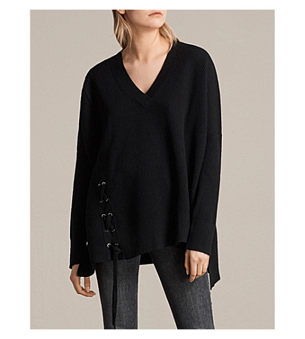 ALLSAINTS Able laced knitted jumper (Black