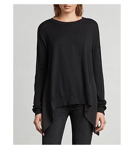 ALLSAINTS Carmel asymmetric hem cotton-blend jumper (Black