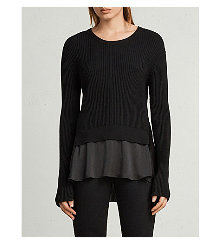 ALLSAINTS Layered satin panel jumper (Black