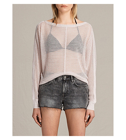 ALLSAINTS Elle Levita pointelle-knitted jumper (Champagne+pink
