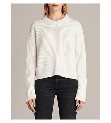 ALLSAINTS Pierce wool-blend jumper (Chalk+white