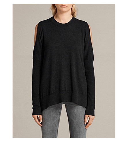 ALLSAINTS Reya cold-shoulder cotton-blend jumper (Cinder+black+m