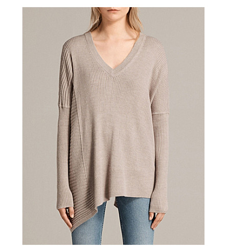 ALLSAINTS Olivo ribbed cotton-blend jumper (Stone
