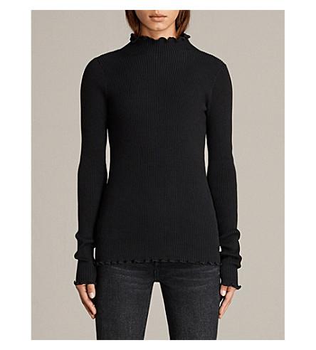 ALLSAINTS Eli frill stretch-cotton top (Black