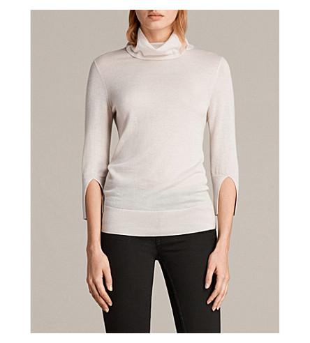 ALLSAINTS Raven funnel-neck cashmere jumper (Alabaster+whit
