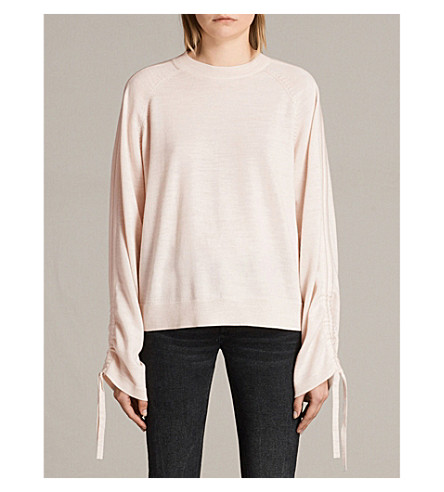 ALLSAINTS Cinder drawstring-sleeve wool jumper (Almond+pink+ma