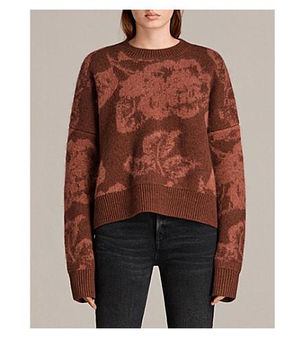 ALLSAINTS Kasurl floral-pattern knitted jumper (Copper+red