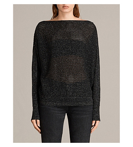 ALLSAINTS Elle metallic-knit jumper (Black