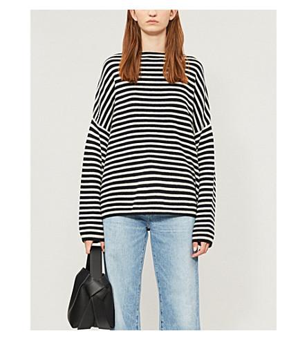 ALLSAINTS 马塞尔条纹棉和羊毛混纺毛衣 (墨水/本色 + 白色
