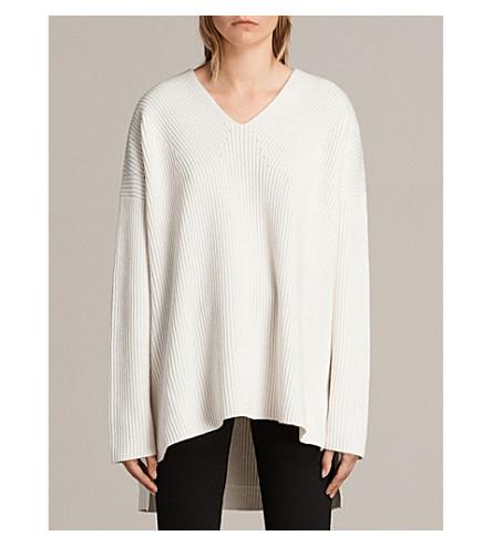 ALLSAINTS Clea V-neck wool-blend jumper (Chalk+white
