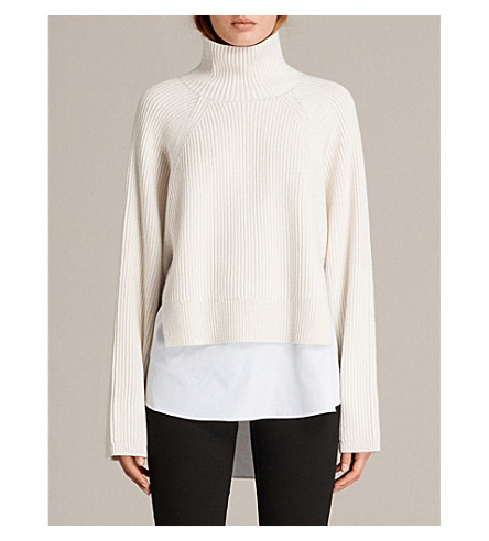 ALLSAINTS Jones knitted roll-neck jumper (Chalk+white
