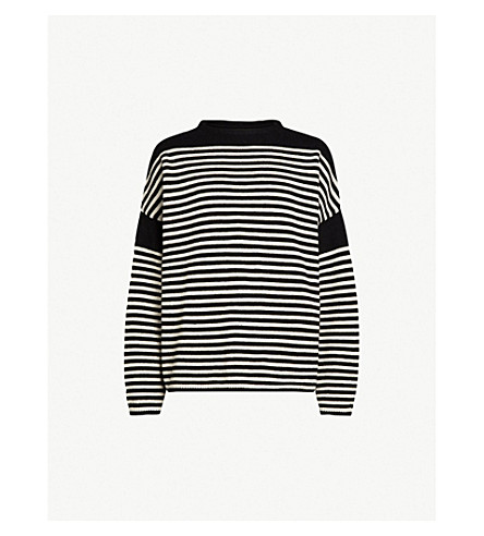 ALLSAINTS Alzette cotton and wool-blend jumper (Black/ecru+whi