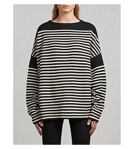 ALLSAINTS Alzette cotton and wool-blend jumper (Black/ecru+whi