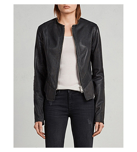 ALLSAINTS Collarless leather jacket (Black