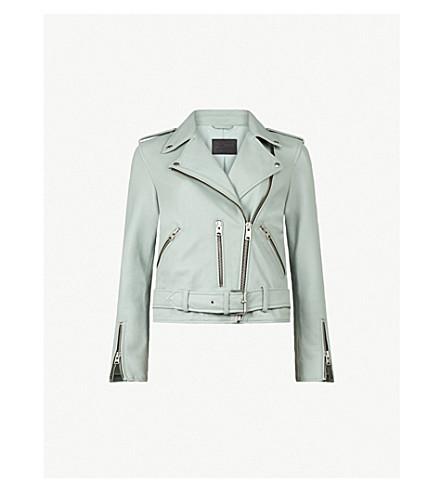 ALLSAINTS Balfern leather biker jacket (Mint+green