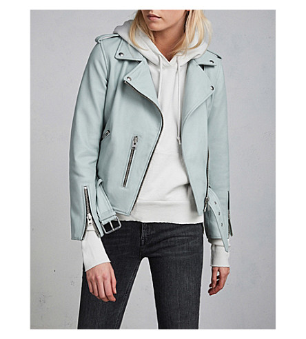 ALLSAINTS Balfern leather biker jacket (Mint+green