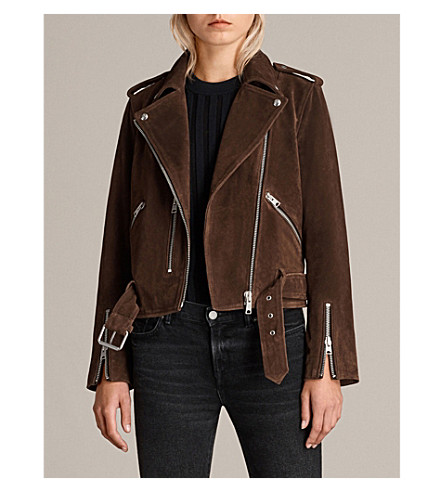 ALLSAINTS Balfern suede biker jacket (Mahogany+brown
