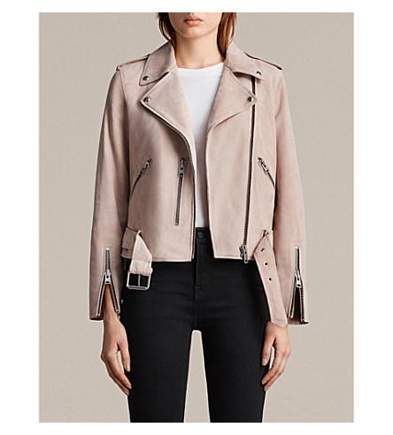 ALLSAINTS Balfern suede biker jacket (Pale+pink