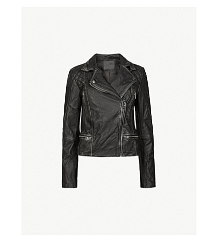 ALLSAINTS Cargo leather biker jacket (Black+grey