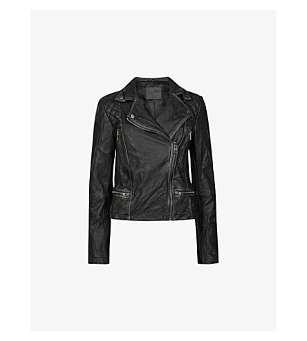 ALLSAINTS Cargo leather biker jacket (Black/grey