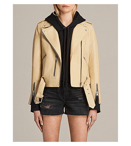 ALLSAINTS Balfern leather biker jacket (Lemon+yellow