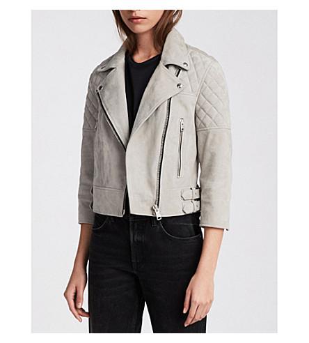 ALLSAINTS 贝蒂绗缝板皮革机车夹克 (卵石 + 灰色