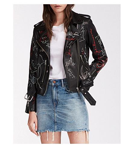 Balfern graffiti-embroidered leather biker jacket