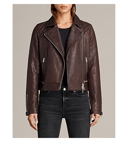 ALLSAINTS Conroy leather biker jacket (Oxblood+red