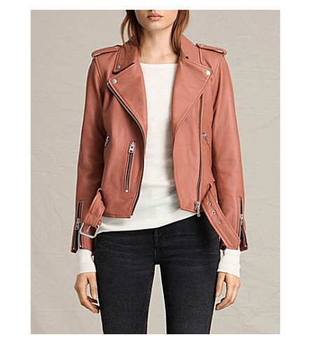 ALLSAINTS Balfern leather biker jacket (Burnt+coral