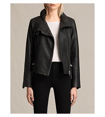 ALLSAINTS 包皮革车手夹克 (黑色