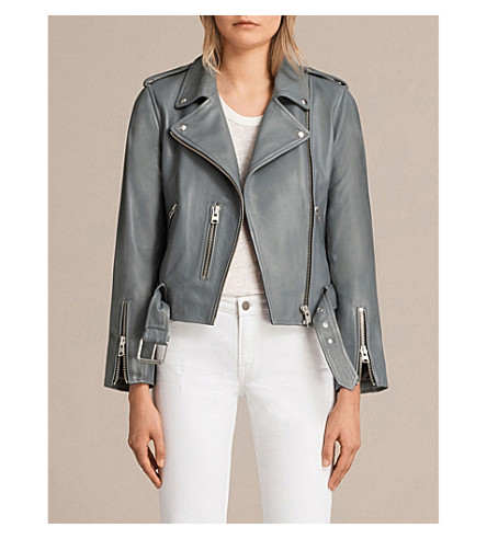 ALLSAINTS Balfern leather biker jacket (Slate+blue
