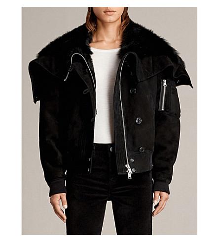 ALLSAINTS Trux shearling-lined suede bomber jacket (Black
