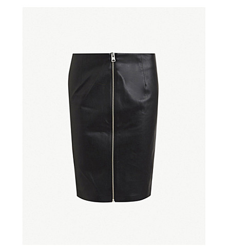 ALLSAINTS Axel zip faux-leather pencil skirt (Black
