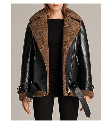 ALLSAINTS 霍利专利-皮革和羊毛夹克 (黑色/棕色