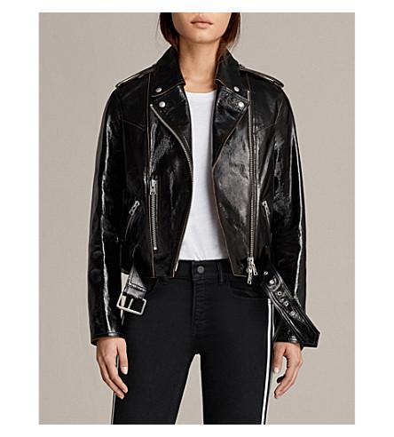 ALLSAINTS 里格比佩顿专利皮革夹克 (黑色