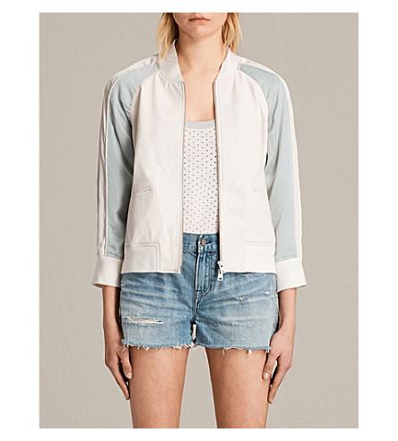 ALLSAINTS Varley leather bomber jacket (White/lunar+bl