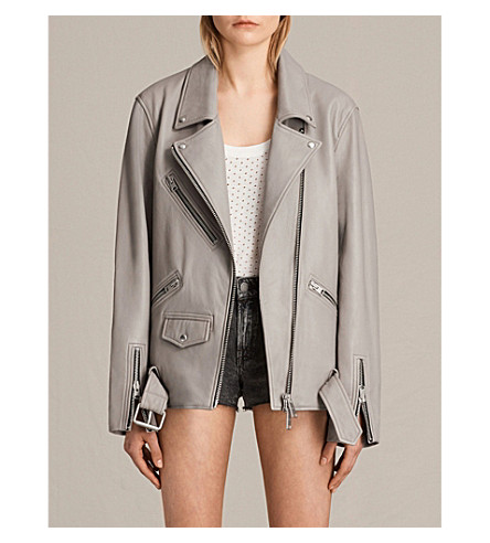 ALLSAINTS Oversized leather biker jacket (Pale+grey