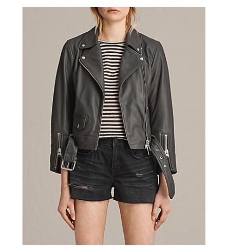 ALLSAINTS Cole leather biker jacket (Dark+grey