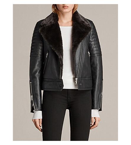 ALLSAINTS Perkins slim-fit leather biker jacket (Black/magma+gr