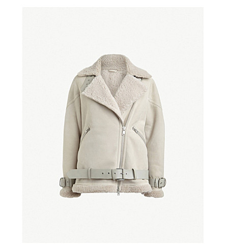 ALLSAINTS Hawley oversized leather and shearling biker jacket (Aries+white