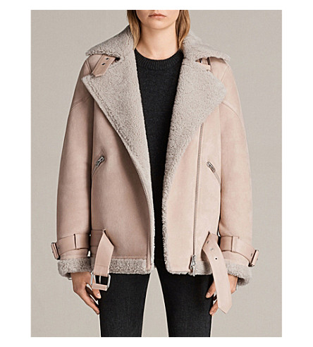ALLSAINTS Hawley oversized leather and shearling biker jacket (Pale+pink