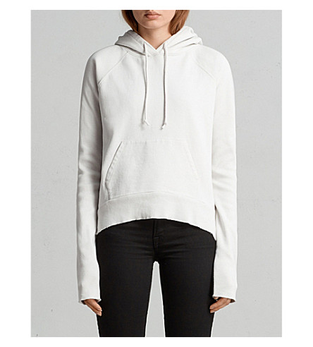ALLSAINTS Deconstructed cotton-jersey hoody (Ivory+white