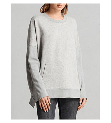ALLSAINTS Ivy cotton-jersey sweatshirt (Grey+marl