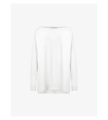 ALLSAINTS Rita long sleeved jersey top (Chalk+white