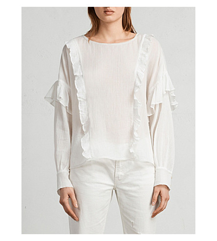 ALLSAINTS Isa ruffled crepe top (Chalk+white