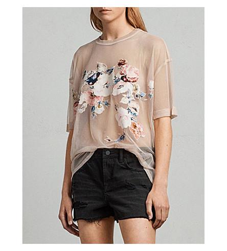 ALLSAINTS Kyla embroidered floral-motif mesh top (Pale+pink