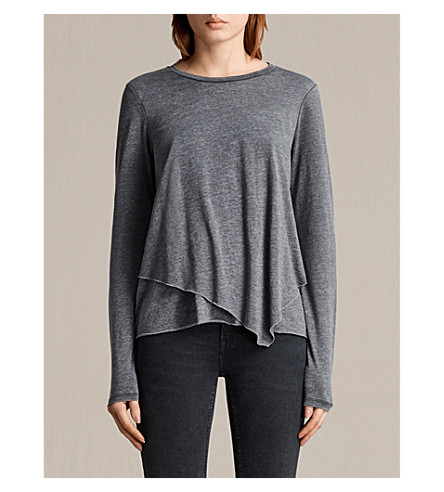 ALLSAINTS Daisy cotton-jersey top (Coal+grey